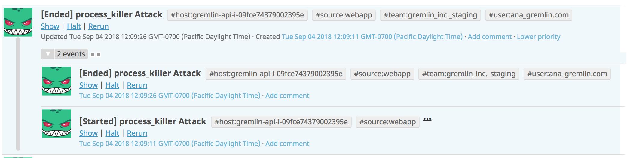 Gremlin Events Datadog Running